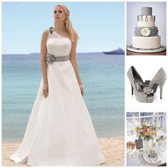 Grey accents with Affinity dress Addison www.affinity-bridal.com