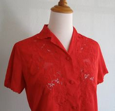 Vintage 1960s Blouse  Bright Red Chinese by BadChollaVintage, $28.00