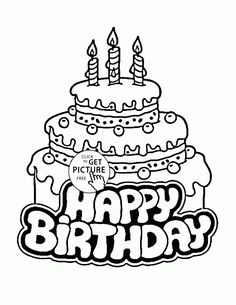 Birthday Cake Coloring Page Worksheets Birthday cakes and Birthdays