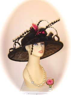 Gwyther Snoxell Hat, Black with Pink Trim, 19 inch, Weddings Races Ladies Formal