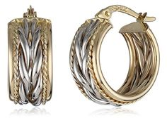 14k Gold Two-Tone Twisted Hoop Earrings -- Continue to the product at the image link.