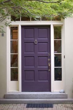 Front door in Benjamin Moore& Dark Purple;- Front door in Benjamin Moore& Dark Purple; Maria Killam, Kelly Bernier Desi… Front door in Benjamin Moore& Dark Purple; Purple Front Doors, Front Door Paint Colors, Purple Door, Painted Front Doors, Front Door Design, Home Upgrades, Purple Paint Colors, Favorite Paint Colors, Favorite Color