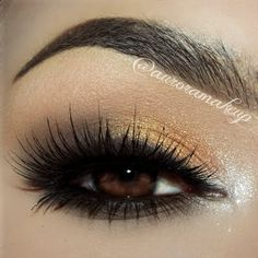 Gold hues are sure to add serious glam to your usual smokey eye. For your next forma event, give this eye makeup a try with the help of these essential products.