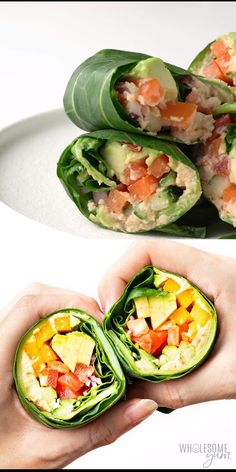 This Mediterranean keto collard green wraps recipe is a delicious way to eat your veggies! It takes just 15 minutes and 7 ingredients to make vegan collard wraps. Paleo and too. Vegan Keto Recipes, Healthy Recipe Videos, Good Healthy Recipes, Raw Food Recipes, Low Carb Recipes, Healthy Wraps, Whole30 Recipes, Paleo Wraps, Paleo Diet