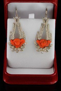 1930s coral and diamond cherub earrings