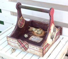 Купить Прованский ящик Деревенский Петушок - комбинированный, красный зеленый, петух, прованский петушок