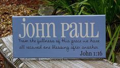 Large Personalized Child Name Sign. Wood Sign with Verse and Scripture. Great for Nursery, Baby Shower, Birthday or Christmas Gift