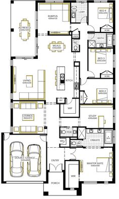 Browse the various home designs and house plans on offer by Carlisle Homes across Melbourne and Victoria. Find great house plans and home designs for your needs. Best House Plans, Dream House Plans, House Floor Plans, Home Design Floor Plans, Plan Design, Melbourne, Building Plans, Building Design, 6 Bedroom House Plans