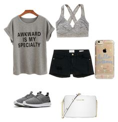 """""""Untitled #35"""" by petuniark on Polyvore featuring Frame Denim, Aerie, NIKE, Agent 18 and Michael Kors"""