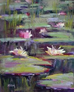 Water Lilies and Dark Water, original painting by artist Karen Margulis | DailyPainters.com
