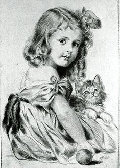 Meta Plückebaum (Alemania, Girl with Kitten circa 1930 Colouring Pages, Adult Coloring Pages, Stylo Art, Vintage Illustration, Portrait Sketches, Vintage Cat, Vintage Vogue, Pencil Art Drawings, Black And White Pictures