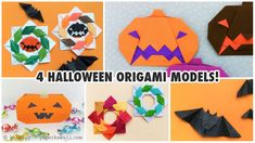 Here are 4 different Halloween origami instructions!  These simple origami models would make great decorations at your Halloween party or hang them around your house to make it more festive :D