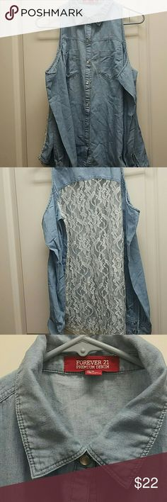 Forever 21 Denim Button Up Shirt Long Sleeve Forever 21 Denim Button Up Shirt with shoulder cut outs and white lace back. Forever 21 Tops