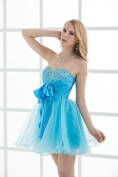 Charming A Line Sweetheart Blue Satin Crystal Homecoming Dresses Short Prom Dresses