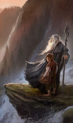 The Hobbit: An Unexpected Journey / Gandalf the Gray & Bilbo Baggins / Wizards & Hobbits / fantasy characters Legolas, Hobbit Art, O Hobbit, Jrr Tolkien, Tolkien Books, Lord Of Rings, The Lord Of The Rings, Hobbit An Unexpected Journey, Between Two Worlds
