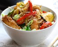 Turkey Stirfry - use left over roast dinner meat, cook with peppers, spring onion, courgette, mange tout and rice noodles with seasame seeds