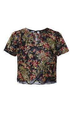 Floral Leaf T Shirt by MARCHESA for Preorder on Moda Operandi
