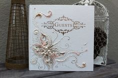 Butterfly Wedding guest book in champagne blush di PureBeautyArt