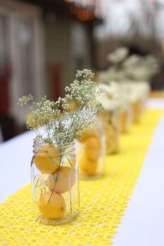 You are my sunshine birthday theme. Mason jars filled with inexpensive flowers, sliced lemons, and water - - You are my sunshine birthday theme. Mason jars filled with inexpensive flowers, sliced lemons, and water - - Sunshine Birthday Parties, Birthday Brunch, Diy Birthday, Birthday Party Themes, Birthday Decorations, Yellow Birthday Parties, Themed Parties, Bridal Shower Decorations, Table Decorations