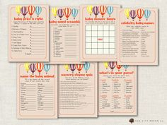 Hot Air Balloon Baby Shower Games ▻ This DIY, Printable Baby Shower Games  Package Is