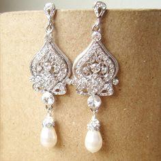 Jacqueline: Vintage Wedding Bridal Earrings, Pearl & Rhinestone Chandelier Bridal Earrings, Vintage Hollywood Glamour Jewelry. $59.00, via Etsy.