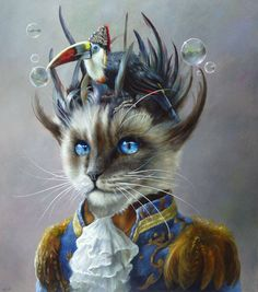 Cat with Fancy hairdo and Bird on it's Head by Wim Bals