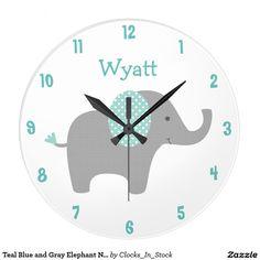 Teal Blue and Gray Elephant Nursery Wall Clock