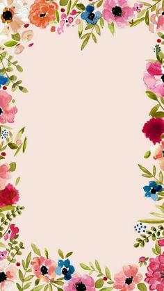 Colorful floral border on a light pink background Flower Backgrounds, Flower Wallpaper, Pattern Wallpaper, Wallpaper Backgrounds, Iphone Wallpaper, Bouquet Champetre, Deco Floral, Floral Border, Flower Frame