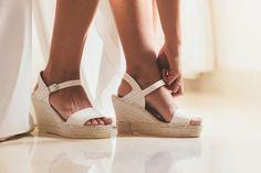 Shop AEDO Mercedes Bridal Glitter High Wedge Sandal at SPANISHOPONLINE.COM