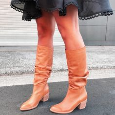 Beasty Tan Leather Mid Calf Boots, Knee High Boots, Over The Knee Boots, A Line Skirts, Soft Leather, Street Style, Shoes, Fashion, Moda
