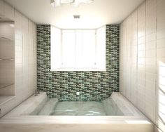 Open sunken shower stall with integrated step down tub. I'd do something narrower for my master bath with different colors.