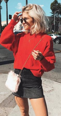 ootd | red sweatshirt + denim skirt + bag