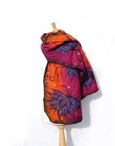 #Felted scarf nuno  felt shawl merino wool   felt