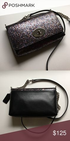 """NEW Coach Glitter Crosstown Crossbody New Crosstown from The Glitter Collection by Coach. This hard to find crossbody is coated in multicolored glitter on the front & black leather on the back. Glitter is called bronze but is purplish brown w/ blue & dark silver. Approx. 9x6x2"""" w/ 22.5"""" drop. Detachable leather & chain strap. Silver hardware. Lined in black fabric. Interior slip pocket & rear exterior slip pocket. Light wear from display - see other post with more photos! New, tag detached…"""