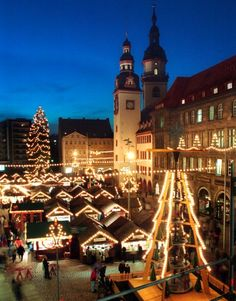 the christmas market in chemnitz is famed within the state of saxony, germany. some 200 wooden huts are constructed around the town hall.