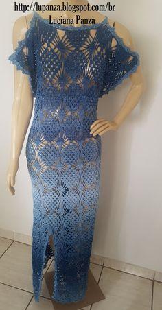 LU PANZA TRICÔ & CROCHÊ Formal Dresses For Weddings, Wedding Dresses, Crochet Clothes, Crochet Dresses, Lace Dress, Knit Crochet, Crochet Patterns, Cover Up, Short Sleeve Dresses