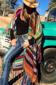 LARGO Handknit Womens bohemio Hippie Festival playa Poncho cabo chal (para vaquera Colgrove)