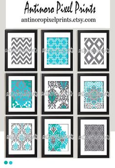 Turquoise Teal Grey Ikat inspired Art Prints Collection -Set of (9) - 8 x10 Prints  -   (UNFRAMED)