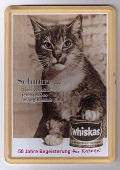 Metal vintage cat food ad postcard from Germany, via Postcrossing - Schnurr!