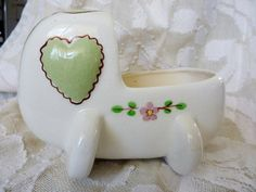 1940's CA Block Pottery Baby Cradle Planter by BonniesVintageAttic, $18.00