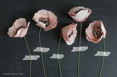 Paper flowers + washi tape - love how these are displayed!