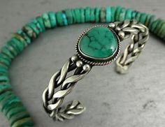 Vintage Navajo Design Green Turquoise Braided Sterling Cuff Bracelet
