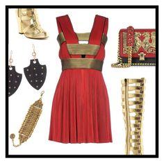 """Red Dress"" by deepwinter ❤ liked on Polyvore featuring Balmain, Roberto Cavalli, Michael Antonio, Ashley Pittman and Natalie B"