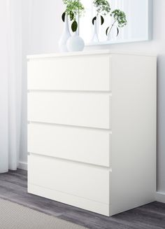 Malm Hack, Hack Ikea, Nightstand, Dresser, Table Ikea, White Chests, Particle Board, Drawer Fronts, Chest Of Drawers