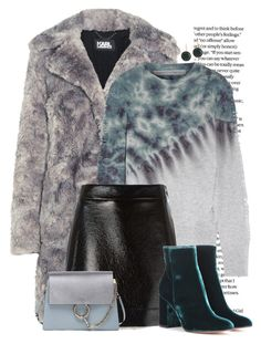 """""""Teal and gray"""" by seventeene ❤ liked on Polyvore featuring Karl Lagerfeld, Raquel Allegra, MICHAEL Michael Kors, Gianvito Rossi, Chloé and Lana"""