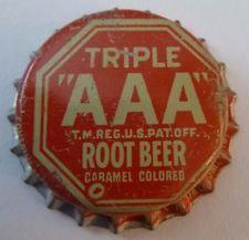 """Triple """"AAA"""" Root Beer Cork-lined Bottle cap"""