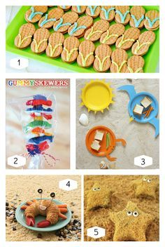 Here are some of the simplest ideas for a Beach Party from around the web. Each one is special, easy to do, and sure to bring smiles! 1. Peanut butter cookie flip flops - Kara's Party Ideas> 2. DIY Gummy Candy Skewers Tutorial - HWTM Blog> 3. DIY Wave Ware Paper Plates Tutorial - Martha Stewart> 4. Crabby Croissants - FamilyFun Magazine> 5. Starfish s'mores - Hungry Happenings>