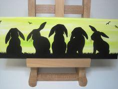 Lop eared bunny rabbit silhouette original by DandelionsGallery