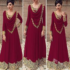 2019 Europe And The United States Foreign Trade Explosion Models Women's Lace Stitching Saudi Wind Long-sleeved Dress MI Cheap Maxi Dresses, Indian Gowns Dresses, Indian Fashion Dresses, Dress Indian Style, Indian Designer Outfits, Party Wear Dresses, Pakistani Dresses, Stylish Dresses, Indian Outfits