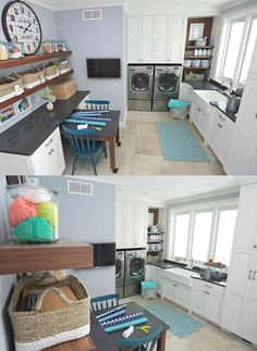 The laundry room/craft room/mud room/potting room is very exciting! Its combination of functions works beautifully together.